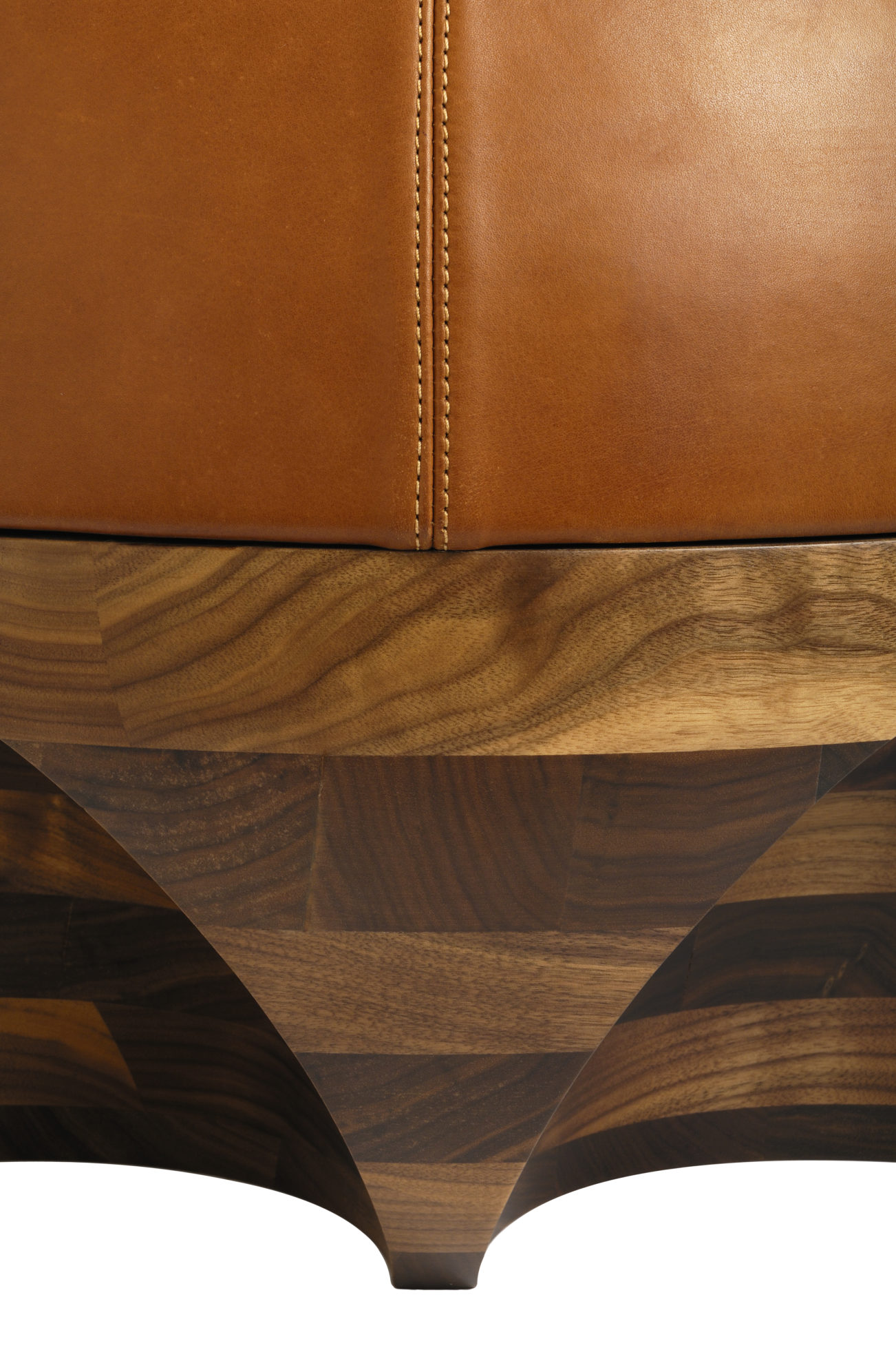 Leather Fabric Ottoman And