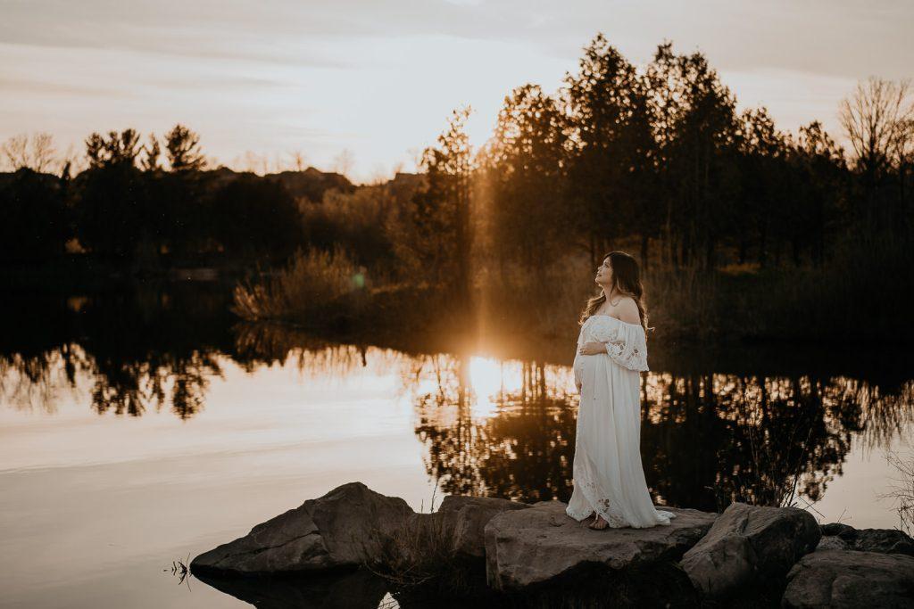 Moody toronto maternity photographer, sunset maternity photo, kitchener maternity photography