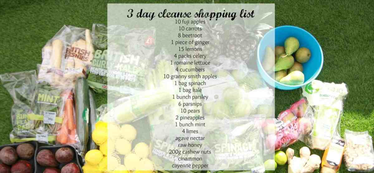 3 day cleanse list