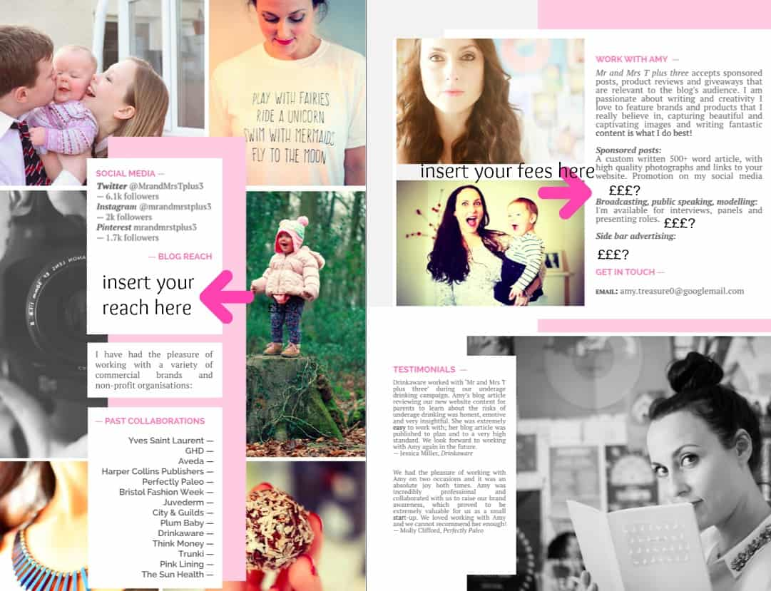Inside pages of a media kit detailing social reach and following. With fees listed and engaging content and photographs.