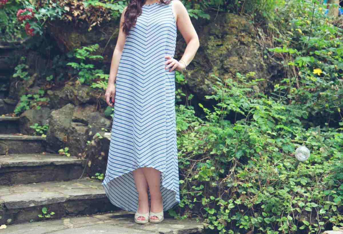 close up of Linea Weekend striped trapeze dress perfect for Summer