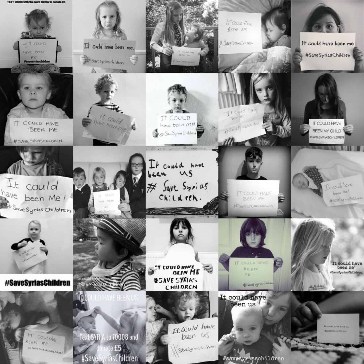 A collection of images from the #SaveSyriasChildren charity campaign