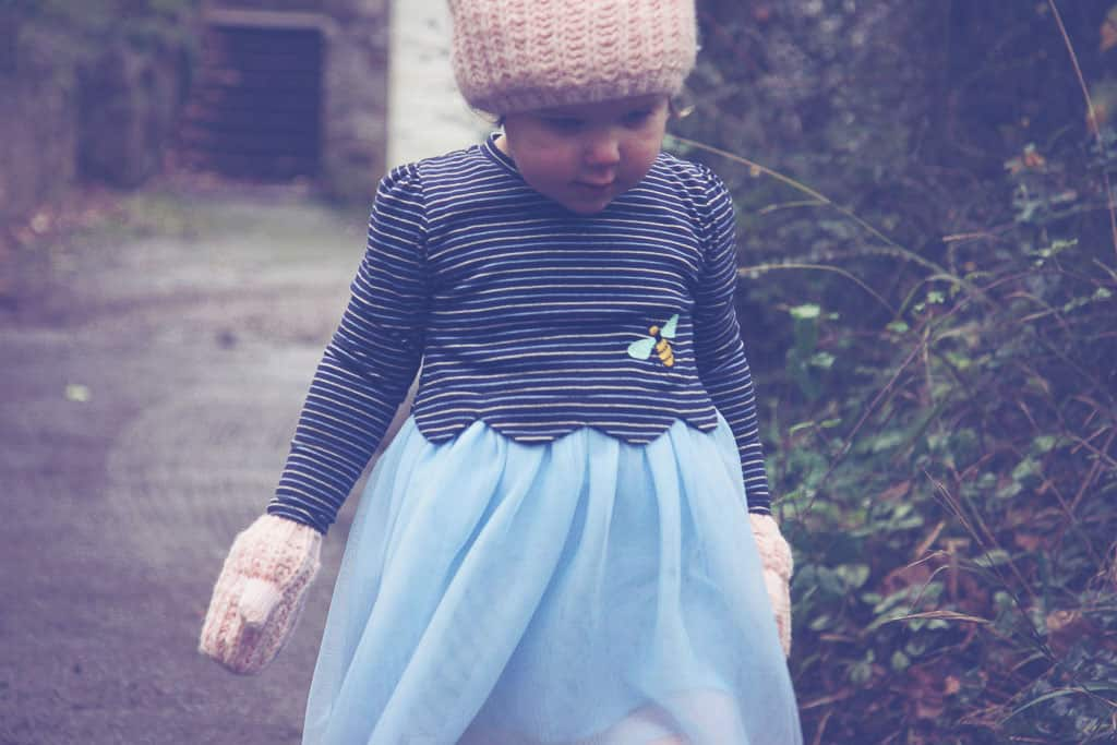 Jam on Toast dress with striped top and pastel blue tulle skirt