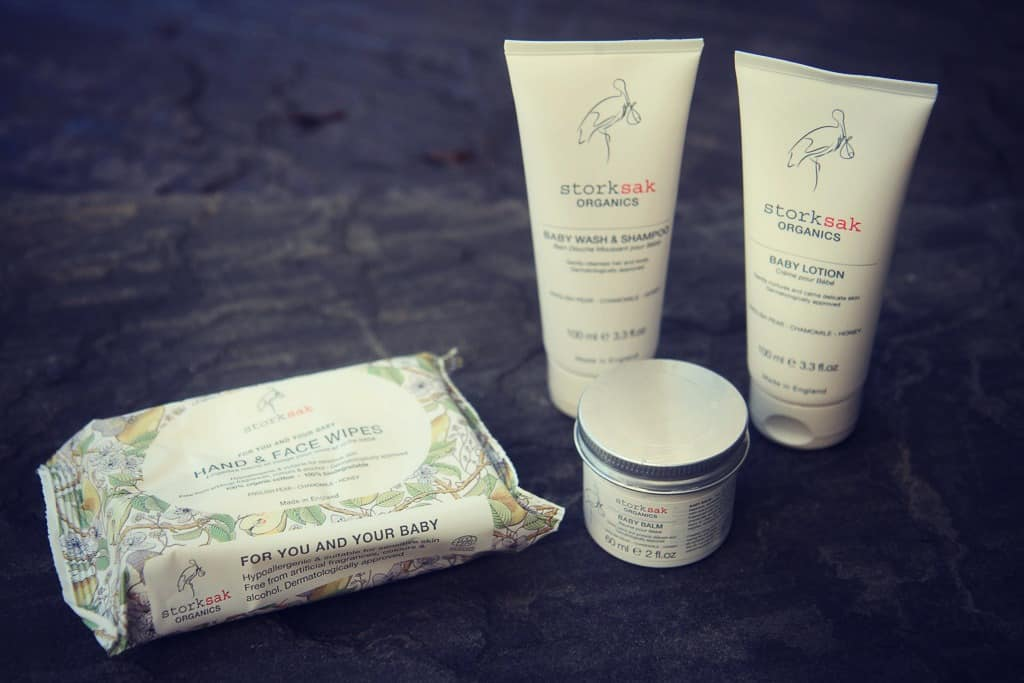 Storksak Organics: baby balm, body wash and shampoo, lotion and wipes