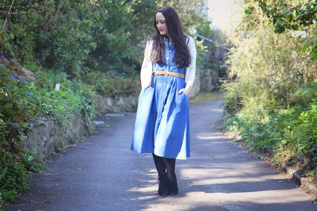 Laura Ashley blue denim midi free