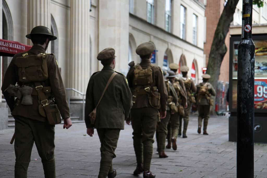 Soldiers walking the streets of Bristol #WeAreHere