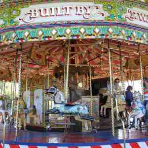On the carousel at Crealy Adventure Park and Resort