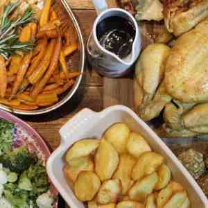 A home cooked roast chicken dinner using McCain frozen roasts which you can pop into the oven with no faff!