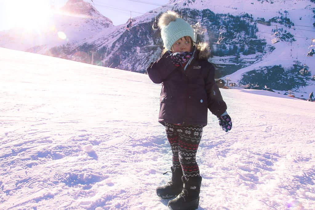 Muddy puddles ski jacket and snowboots
