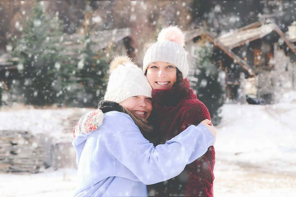 Mother and daughter in the snow-Val d'Isere