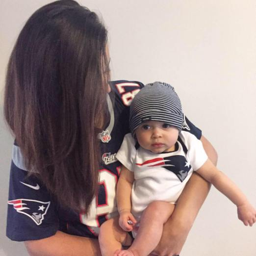 New England Patriots mom and baby