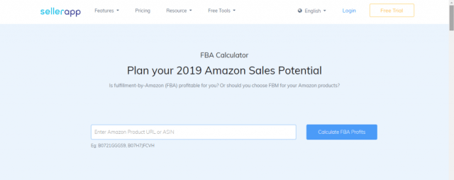 Calculatrice FBA Amazon par Sellerapp