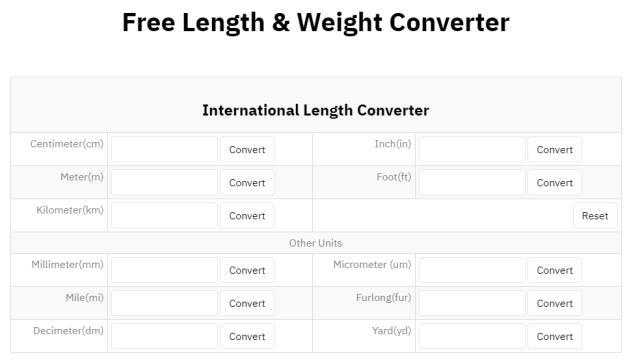 Convertisseur de longueur et de poids en vente libre