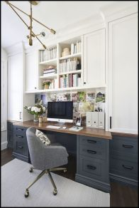 Awesome Built In Cabinet and Desk for Home Office Inspirations 54