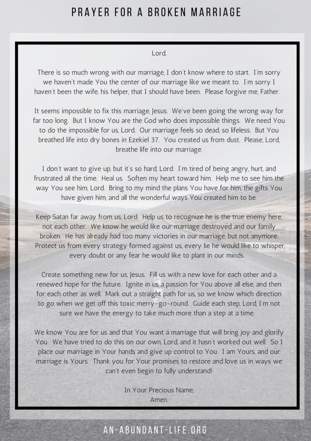 Prayer for a Broken Marriage | An Abundant life