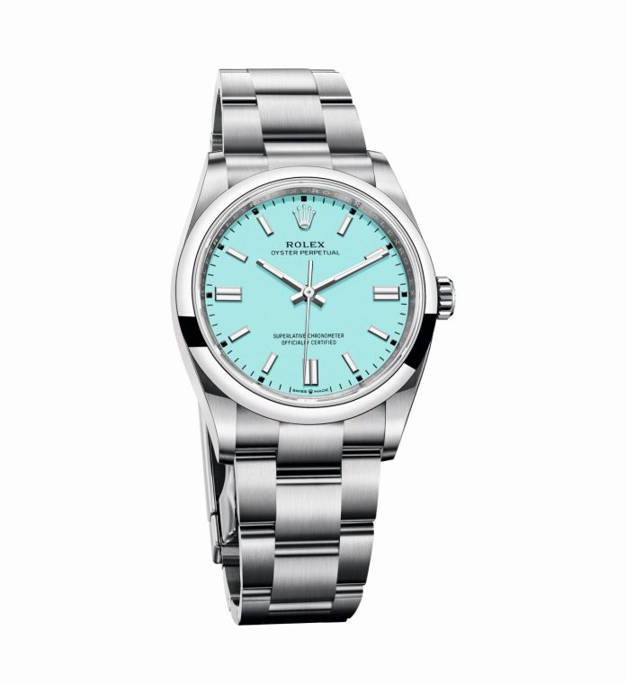 Oyster Perpetual 36 in Oystersteel with turquoise blue dial e1607280863211