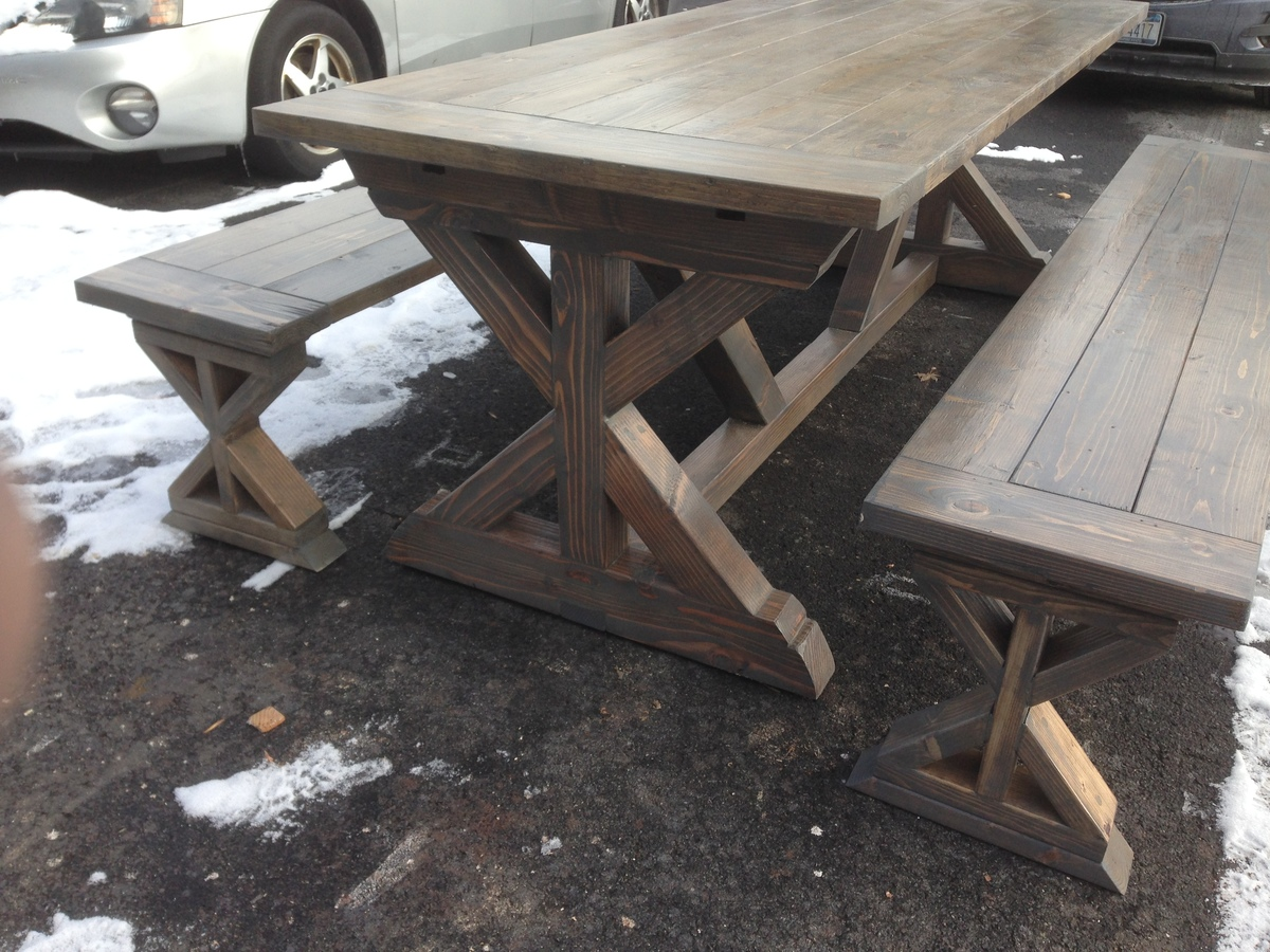 Ana White X Base Farmhouse Table And Benches DIY Projects