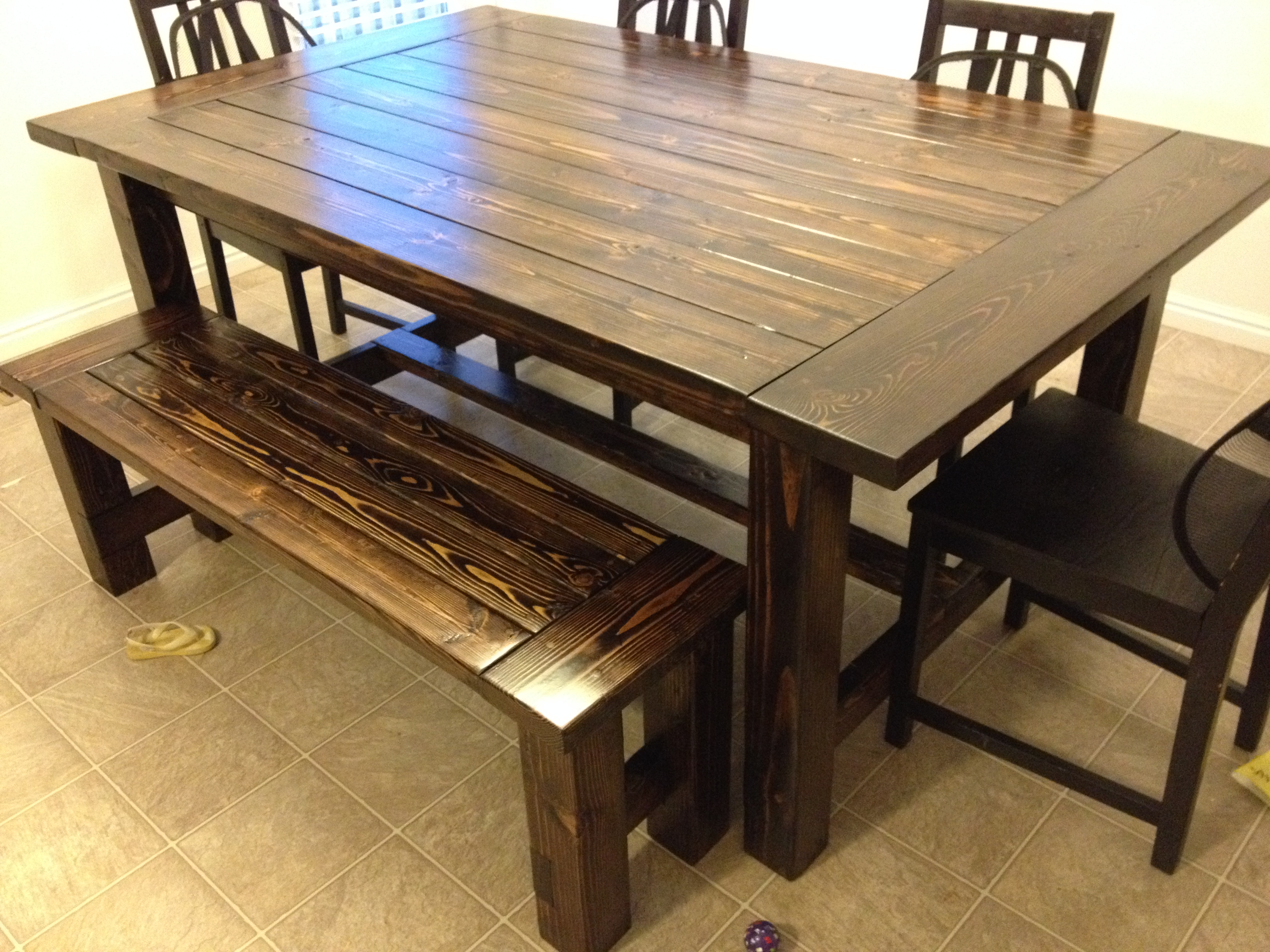 Ana White Farmhouse Table And Bench