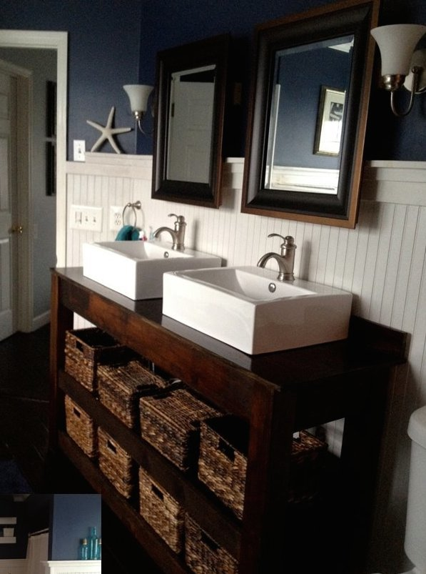 Ana White | Spa-Slatted Double Vanity - DIY Projects on Rustic:s9Dkpzirpk8= Farmhouse Bathroom  id=66377