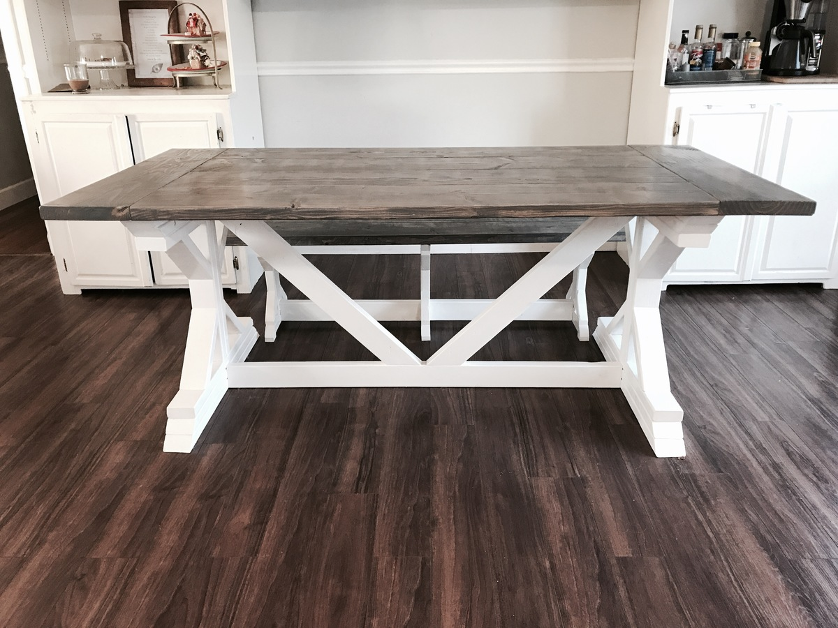 Ana White Two Tone Weathered Gray X Farmhouse Table And Benches DIY Projects
