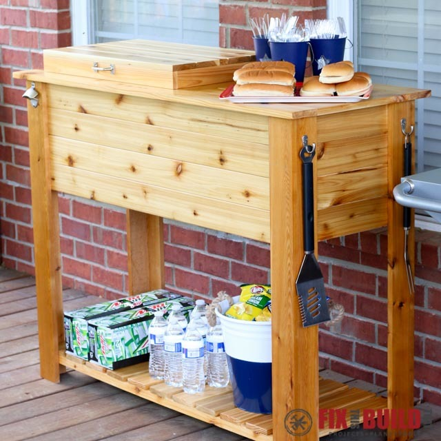 patio cooler grill cart combo ana white