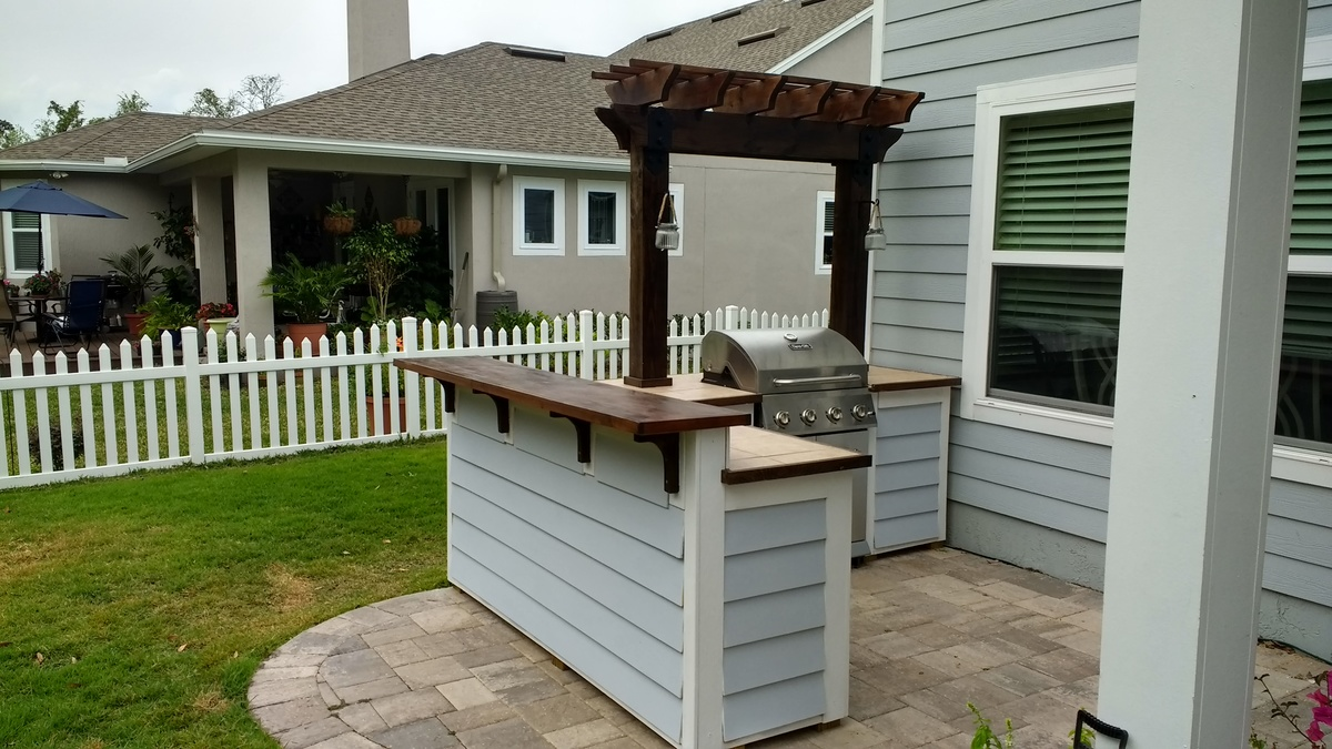 Outdoor Bar Grill Surround With 2 Post Pergola Ana White