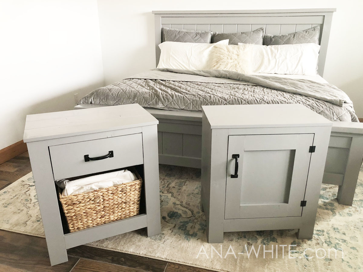 cabinet style farmhouse nightstand with