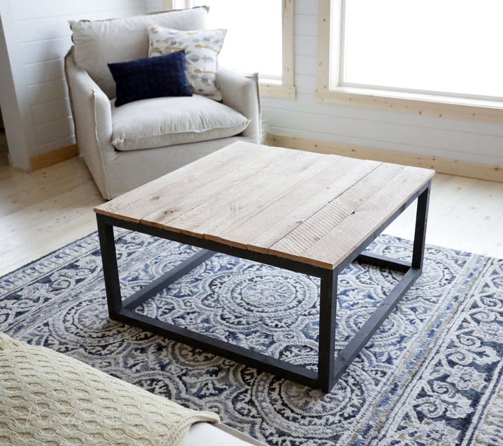 square industrial coffee table ana white