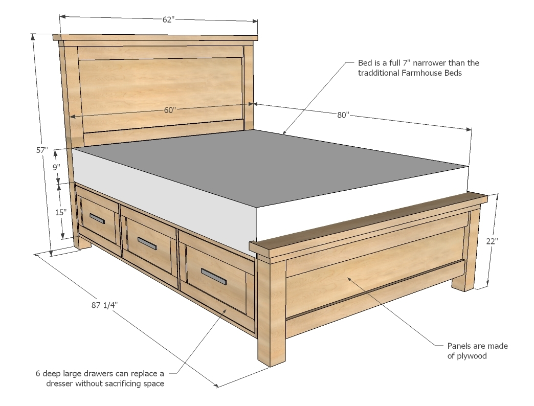 farmhouse storage bed with drawers