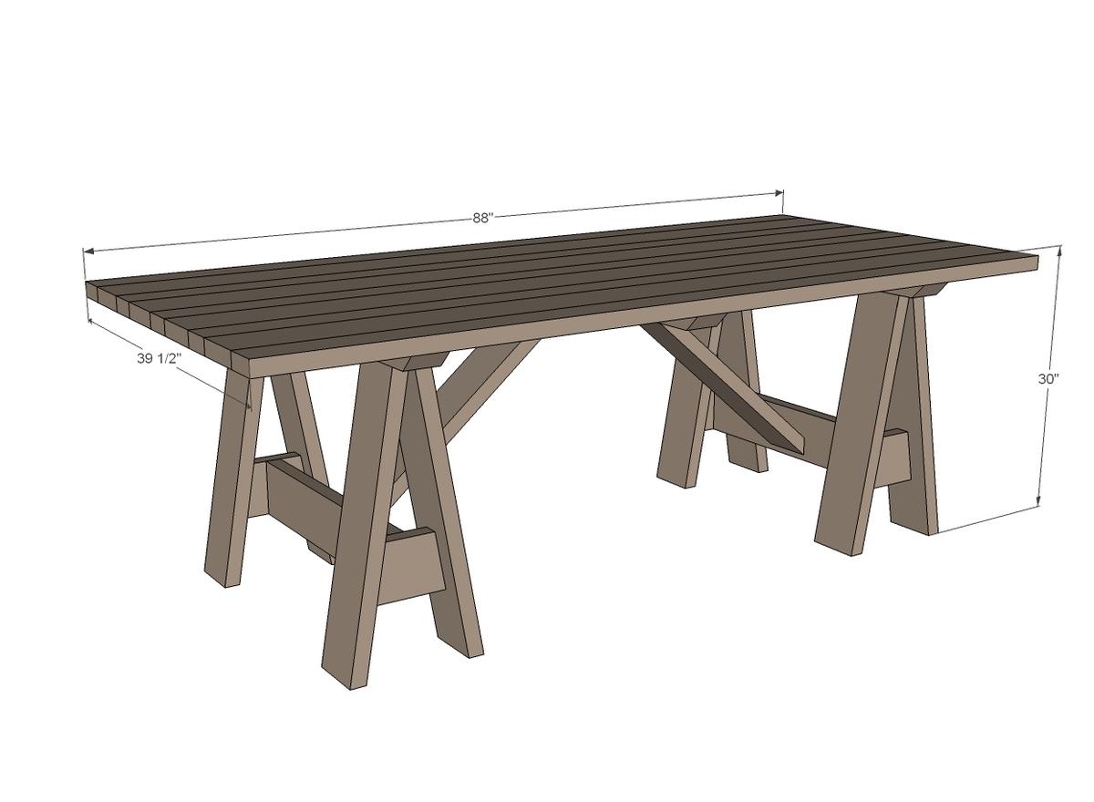 sawhorse outdoor table ana white