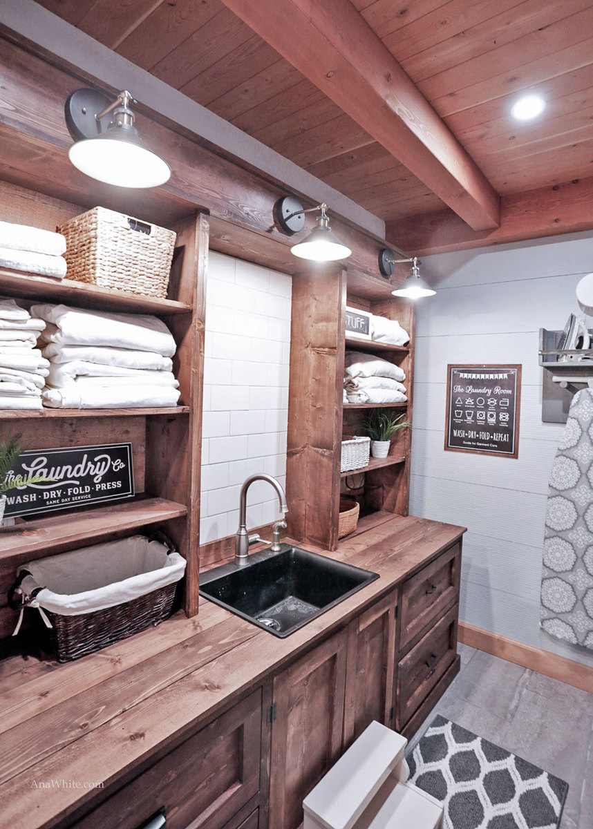 Ana White   Rustic Laundry Room Cabinet with Hutch - DIY ... on Laundry Cabinet Ideas  id=19594