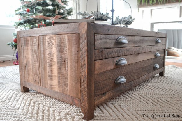 ana white | reclaimed wood coffee table with printmaker style