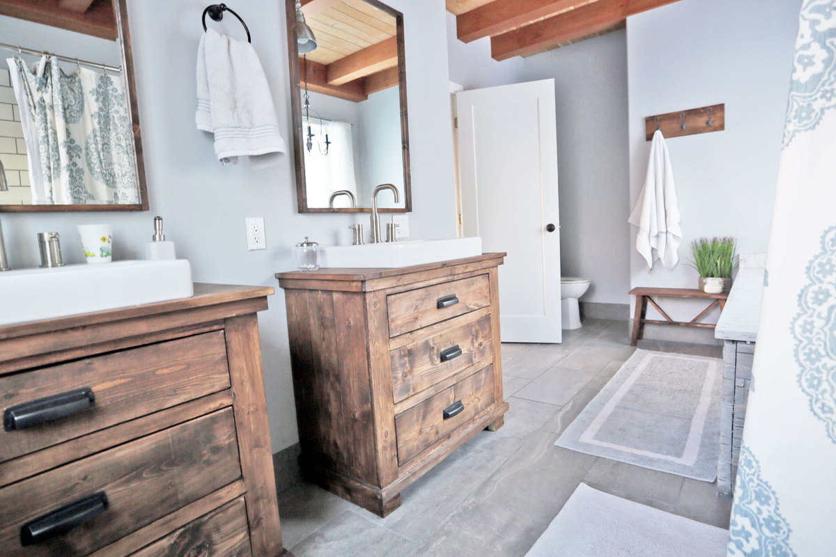 Rustic Modern Farmhouse Bath Tour + Sources | Ana White ... on Rustic Farmhouse Bathroom  id=54094