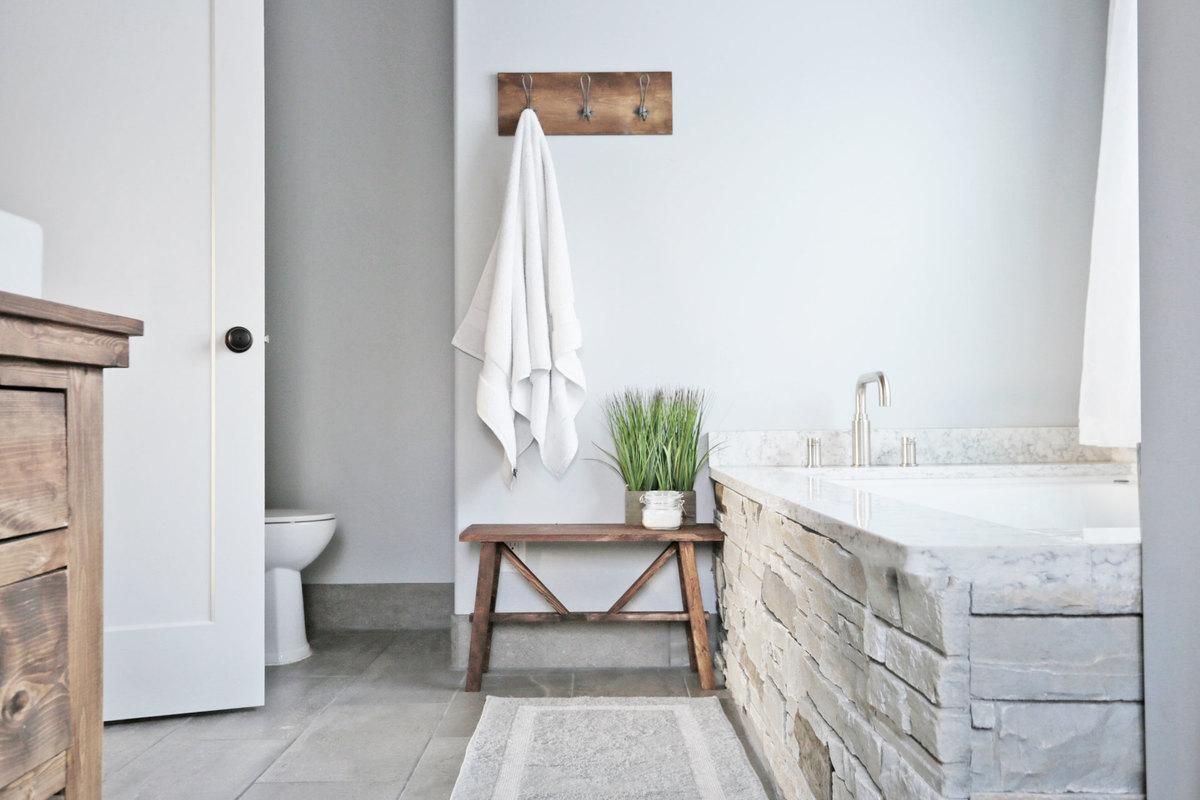 Rustic Modern Farmhouse Bath Tour + Sources | Ana White ... on Rustic Farmhouse Bathroom  id=76166