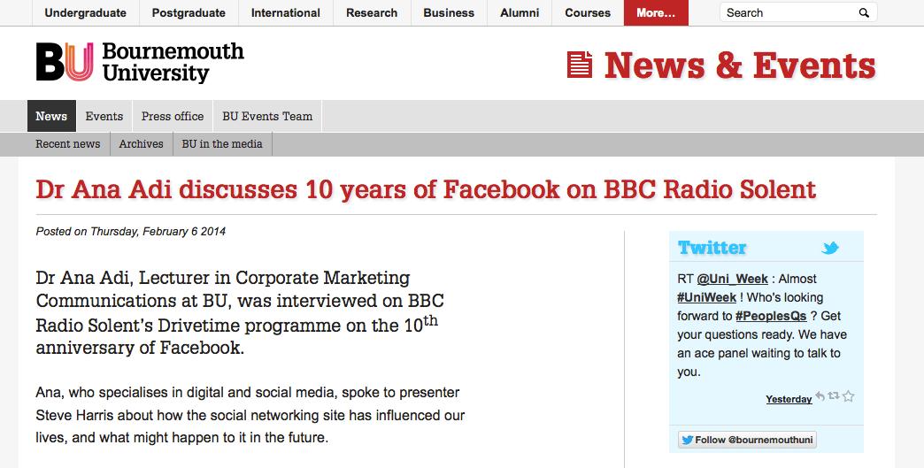 10 years of Facebook - Ana Adi on Radio Solent
