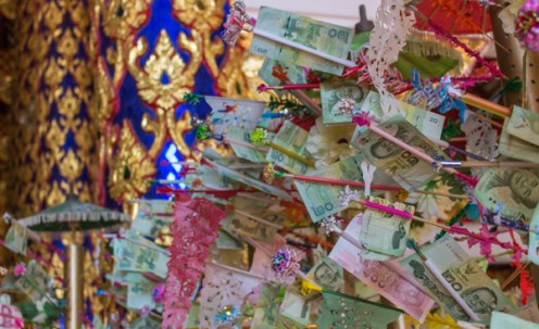 A money tree to take donations for the temple.
