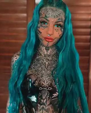 See Lady That Spent ₦7 Million+ To Tattoo Entire Body And Face