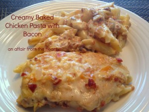 creamy baked chicken pasta with bacon