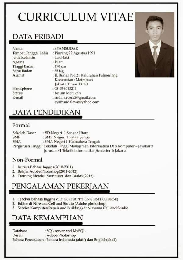Contoh CV Lamaran Kerja Formal