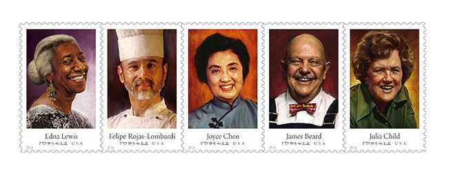 celebrity chefs Forever Stamps USPS