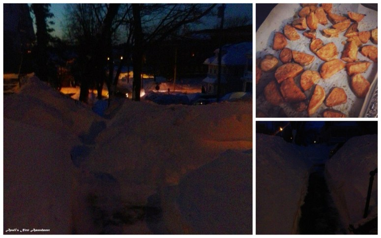 snowy sidewalk roasted sweet potatoes