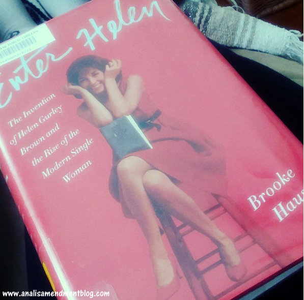 Book cover showing picture of Helen Gurley Brown sitting on a stool, wearing a red dress.