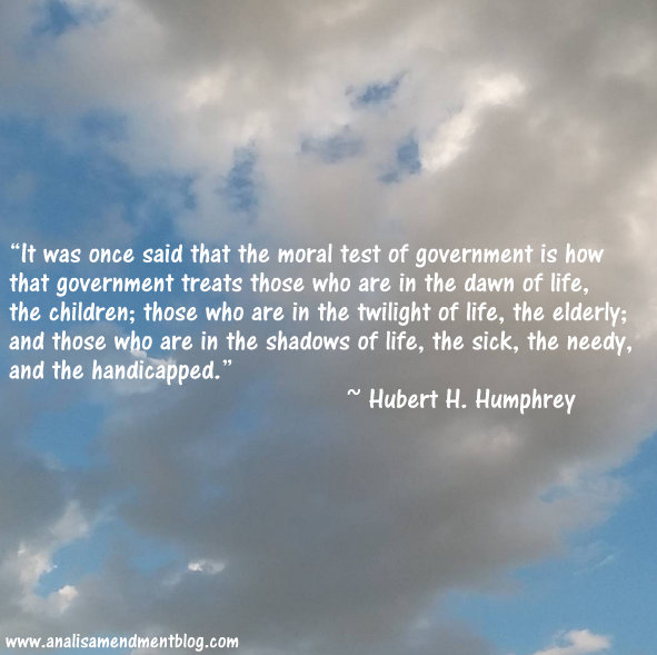 Background of cloudy blue sky with text of quote by Hubert H. Humphrey.