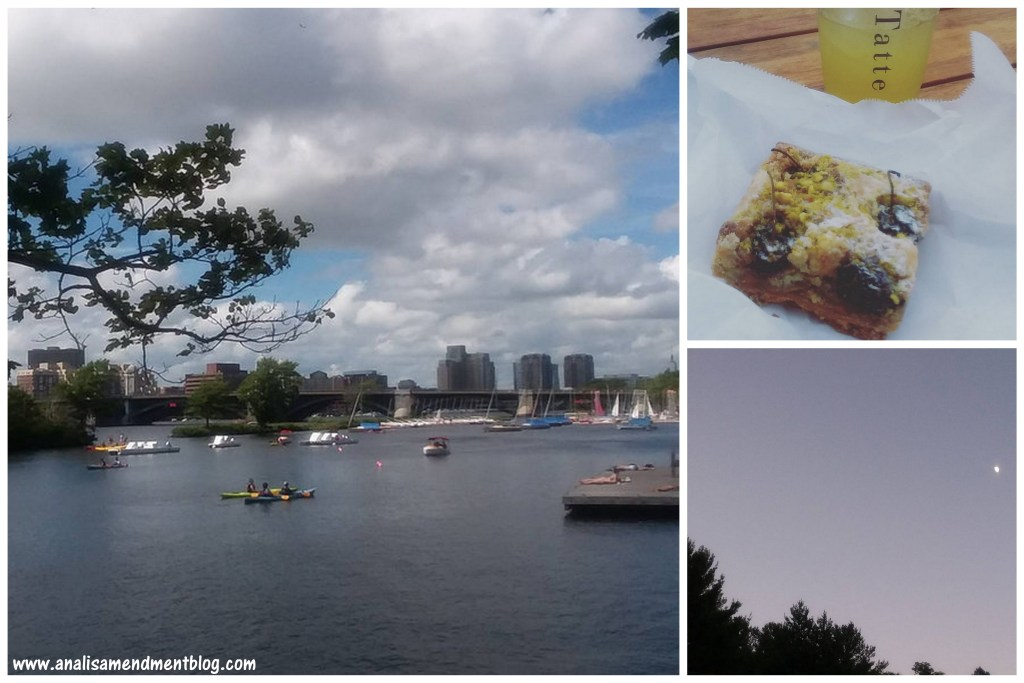 """Taking note of a tree branch in the foreground, puffy white clouds, blue sky, a dock, boats and canoes in the Charles River in Boston, with buildings in the background. On the right, two small pictures, the top is a square piece of cherry and pistachio tart on a napkin and minted lemondade in a plastic cup with the word """"Tatte"""" printed vertically, the bottom picture shows the moon rising in a bluish grey sky over the tops of trees."""