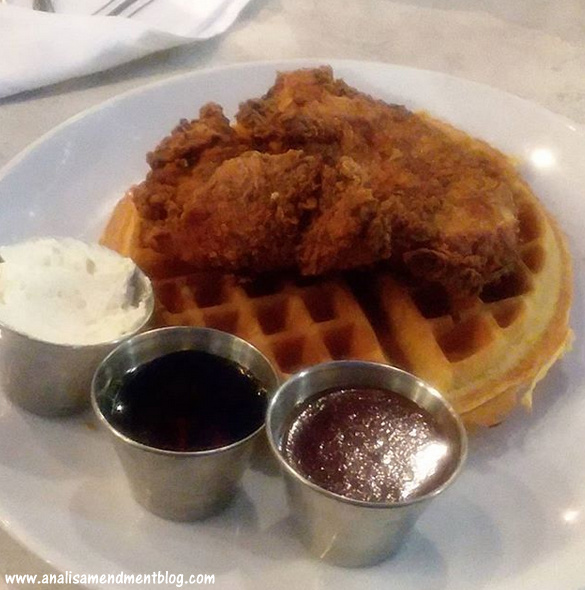 My birthday dinner of chicken and waffles.