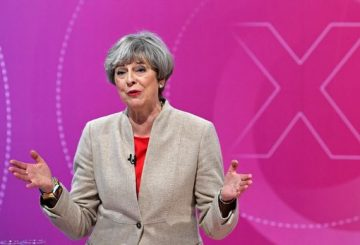 """British Prime Minister Theresa May takes part in """"The Question Time, Leaders Special"""" hosted by David Dimbleby in York in northern England on June 2, 2017, ahead of the upcoming general election. / AFP PHOTO / POOL / Stefan Rousseau"""
