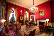 Vista general de una sala de la Casa Blanca que albergará a los medios para presentar su decoración navideña en Washington, Estados Unidos, 29 de noviembre de 2016. La mayor parte de la decoración fue diseñada por Rafanelli Events y llevada a cabo por 92 voluntarios de todo el país/ Foto: EFE