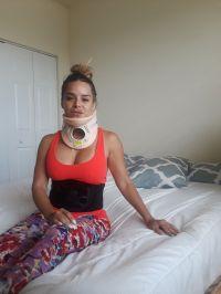 La animadora sufrió lesión vertebral y lumbar tras el accidente. Foto: Yohana Vargas