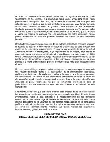 Comunicado ante el diálogo de Gobierno y oposición de Luisa Ortega Díaz