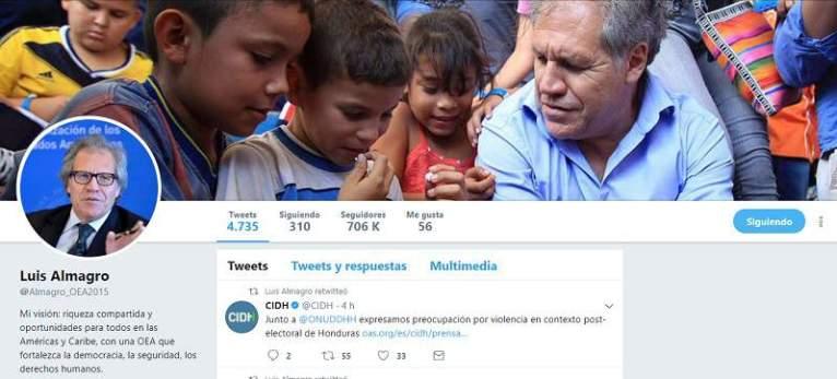 La OEA no es el organismo internacional más conocido, pero su atípico secretario general, Luis Almagro, se alzó esta semana como el líder diplomático más popular en Twitter, con 577.055 seguidores, por delante de los de la ONU o la OTAN